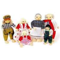 6 Wooden Bendy Farm Family Dolls