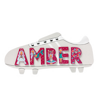 Fair Trade Small Silver Football Boot Name Plaque (with up to 5 Wooden ANIMAL Letters)