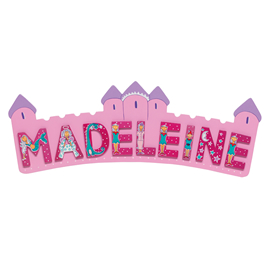 Fair Trade Long Pink Castle Name Plaque (with up to 9 Wooden FAIRYTALE Letters)