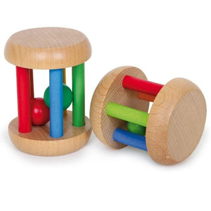 Set of 2 Natural Wooden Baby Cage Rattles