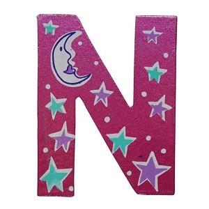 Pink Wooden Fairytale Letter - N