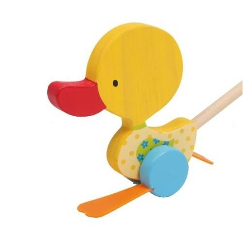 Wooden Yellow Flappy Duck Push Along