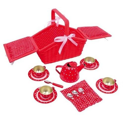 Childrens Toy Red Picnic Basket & Tea Play Set