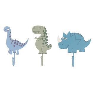 Dinosaur Set of 3x Assorted Coat Hooks