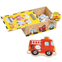 Box of 6 Wooden Vehicle Jigsaws