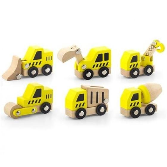 Set of 6 First Mini Construction Vehicles by Viga