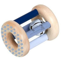 Blue Wooden Rolling Rattle by Belly Button