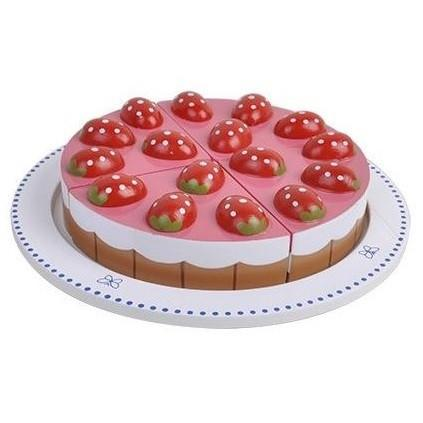 Wooden Play Food Strawberry Tart Cutting Cake by MaMaMeMo