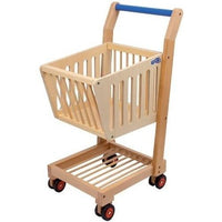Natural Wooden Kids Toy Shopping Trolley