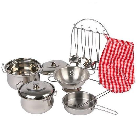 Kids Metal Tin Toy Cooking Pots and Pans Cookware Set with Utensils