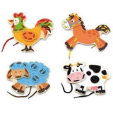 Threading Wooden Farm Animals by Viga