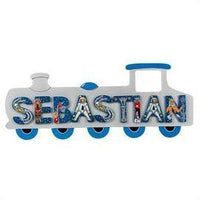 Fair Trade Long Silver Train Name Plaque (with up to 9 Wooden ANIMAL Letters)