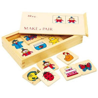 32 Piece Wooden Memory Make a Pair Set
