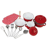 Kids Red Toy Cooking Pots and Pans Toy Cookware Set with Utensils