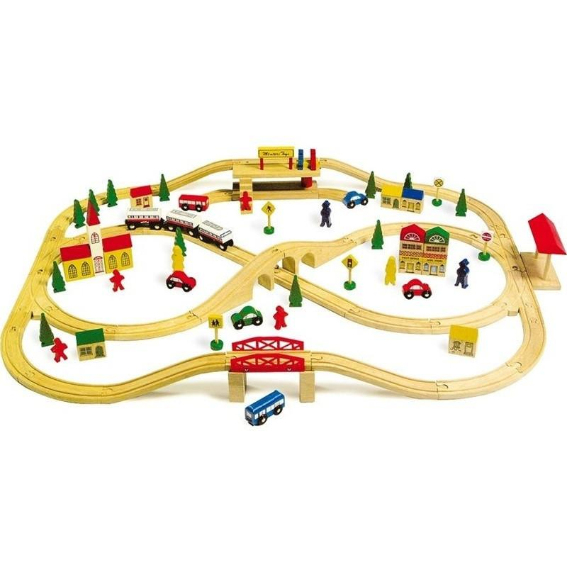 Overhead Wooden Toy Railway Train Set