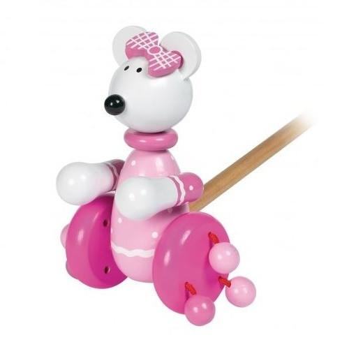New Design Push-Along Pink Mouse by Orange Tree Toys