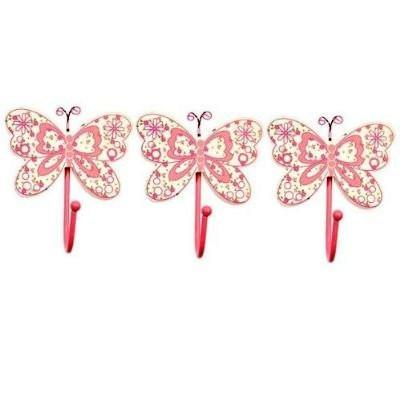 Pink Butterfly Childrens Set of 3 Girls Coat Hooks