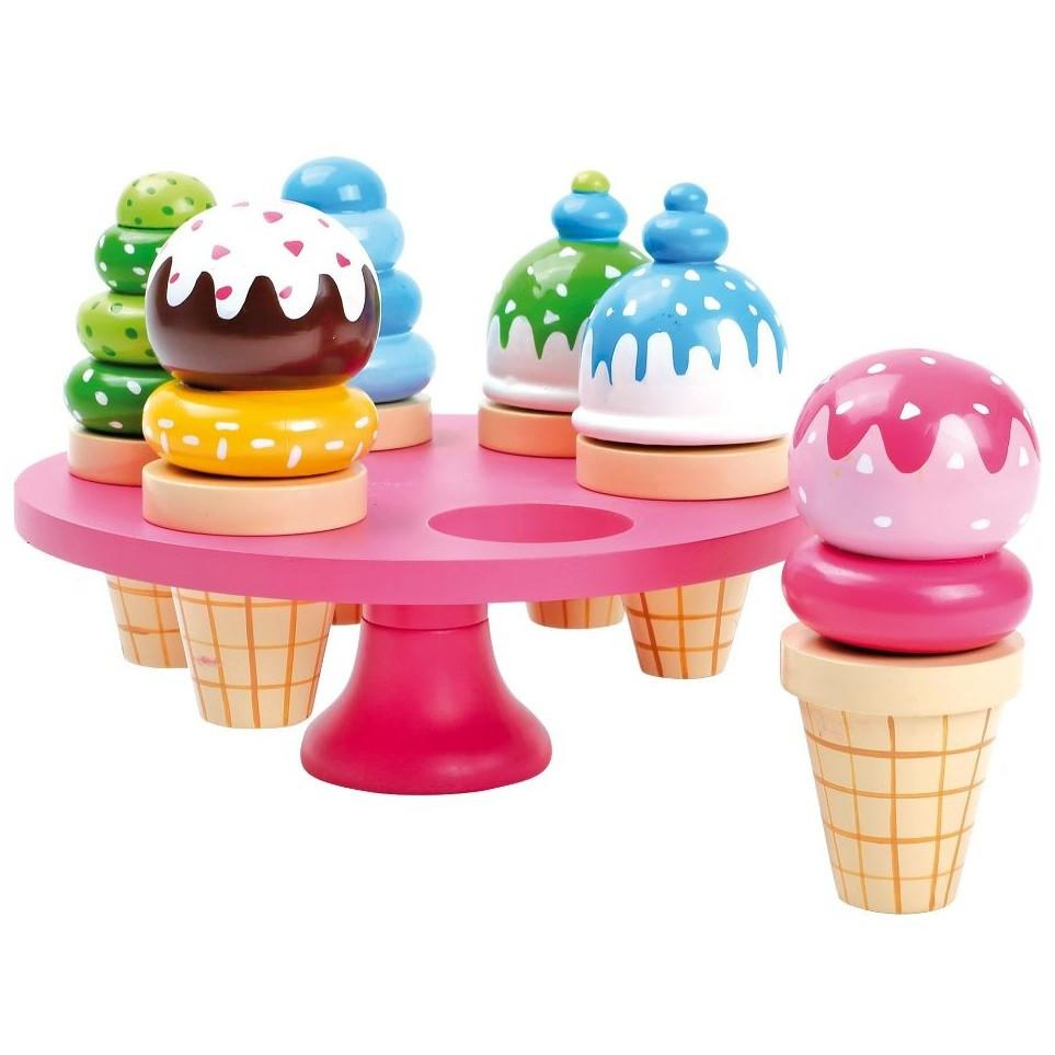 Wooden Play Food Set of 6 Waffle Icecream Sundaes