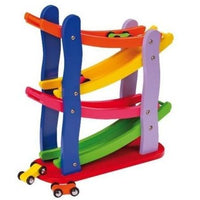 Colourful Wooden Trip Trap Race Track with Racing Cars