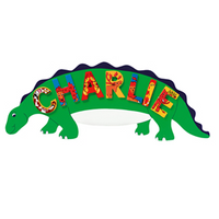 Fair Trade Green Dinosaur Name Plaque (with up to 7 Wooden ANIMAL Letters)