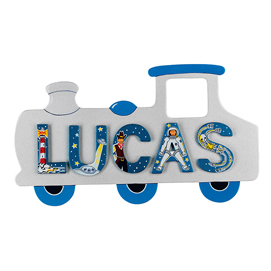Fair Trade Small Silver Train Name Plaque (with up to 5 Wooden ANIMAL Letters)