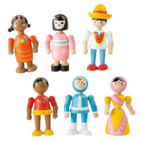 Set of 6 Wooden Bendy People of the World Dolls