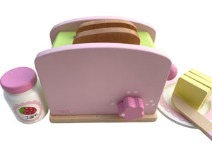 Wooden Play Food Toy Pop-Up Toaster Set by Tinkie Toys