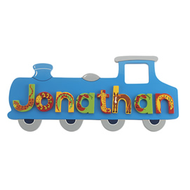 Fair Trade Medium Blue Train Name Plaque (with up to 7 Wooden ANIMAL Letters)