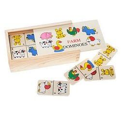 28 Piece Farm Animal Wooden Dominoes