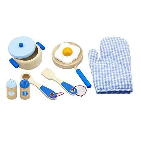 Wooden Pot and Pan Cooking Set in Blue by Viga