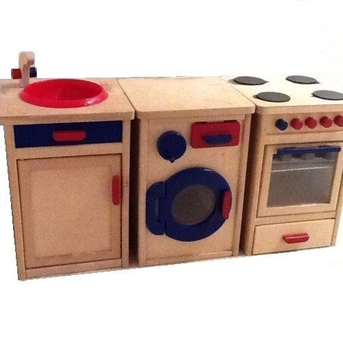 Childrens Traditional Solid Wooden Play Kitchen Set: Oven, Washing Machine  & Sink