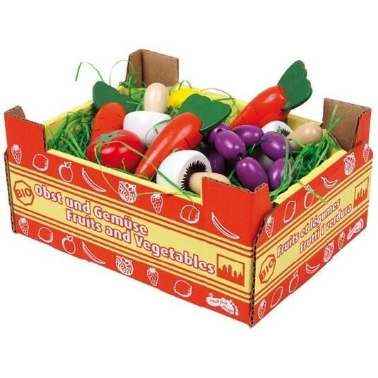 wooden play food toy vegetable basket