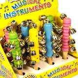 Box of 8 Wooden Musical Jingle Bells Sticks Assorted