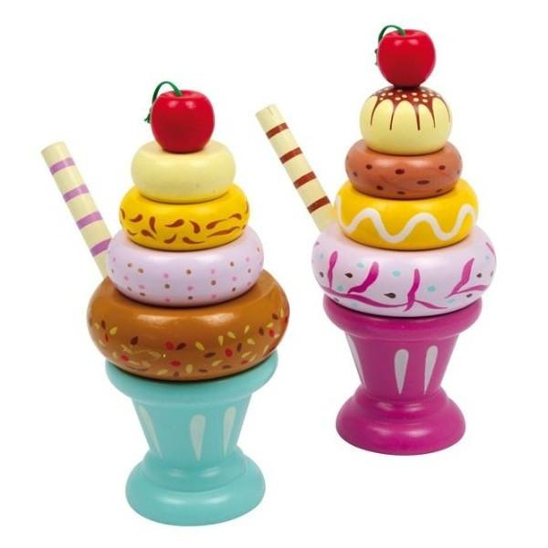 Wooden Play Food Set of 2 Pull-Apart Stacking Icecream Sundaes