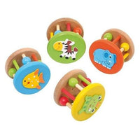 Set of 4 Wooden Round Animal Baby Rattles