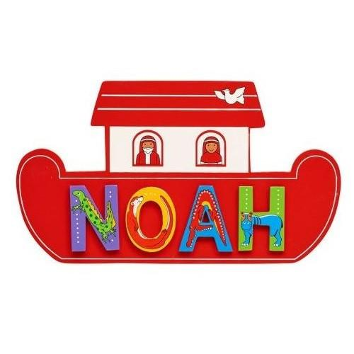 Fair Trade Red Noah's Ark Name Plaque (with up to 6 Wooden ANIMAL letters)
