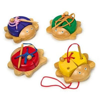 Set of 4 Wooden Colourful Threading Beetles