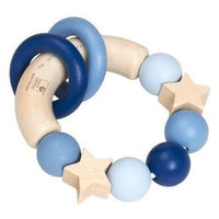 Blue Wooden Baby Grasping Ring Rattle Toy by Belly Button
