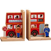 Fair Trade London Bus Natural Wooden Bookends