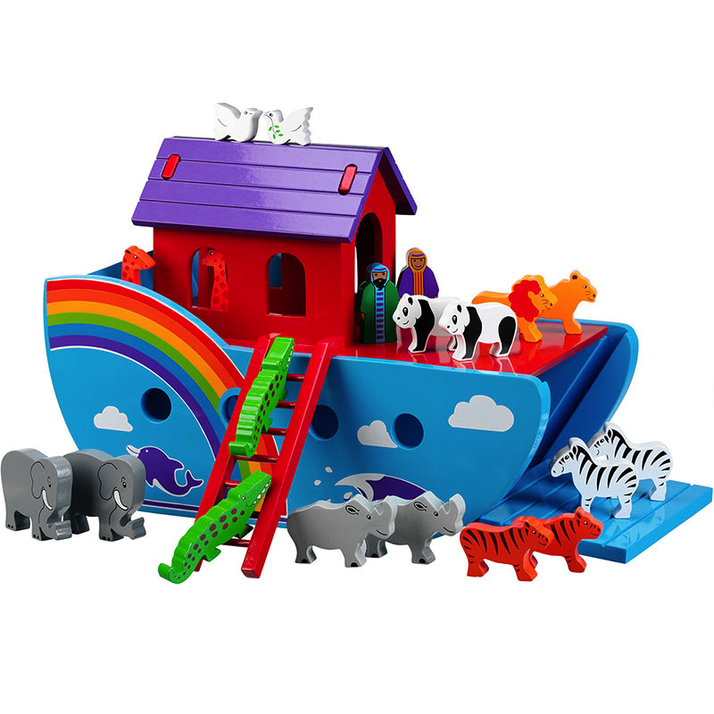 Fair Trade Large Rainbow Noahs Ark with Animals