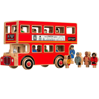 New Design Fair Trade Large Natural Wooden London Passenger Bus Toy Set
