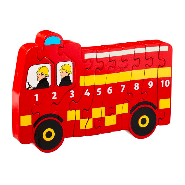 Fair Trade 1-10 Fire Engine Wooden Jigsaw by Lanka Kade