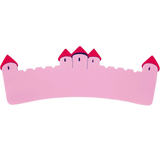 Fair Trade Long Pink Castle Name Plaque (max 9 Wooden FAIRYTALE Letters)