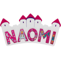 Small Pink & White Castle Name Plaque (max 5 Wooden FAIRYTALE Letters)