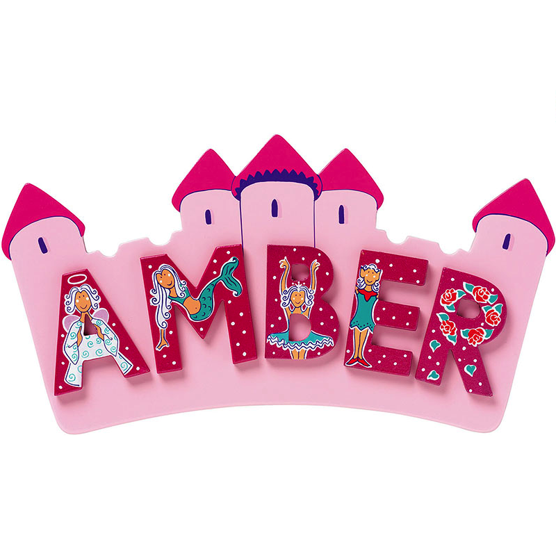 Fair Trade Small Pink Castle Name Plaque (max 5 Wooden FAIRYTALE Letters)