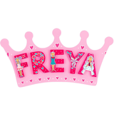 Fair Trade Small Pink Crown Name Plaque (max 5 Wooden FAIRYTALE Letters)