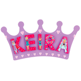 Fair Trade Small Purple Crown Name Plaque (max 5 Wooden FAIRYTALE Letters)
