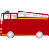 Fair Trade Red Fire Engine Name Plaque (max 6 Wooden ANIMAL Letters)
