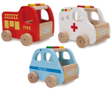 Childrens Set of 3 Wooden Toy Emergency Rescue Cars