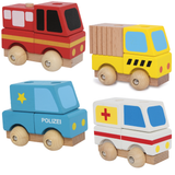 Set of 4 Wooden Emergency Vehicles with Stacking Blocks